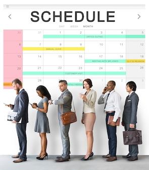 Conceito de planejador de eventos de tabela de programação