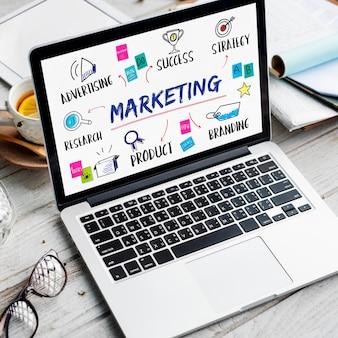 Conceito de planejamento de pesquisa de compartilhamento de ideias de marketing