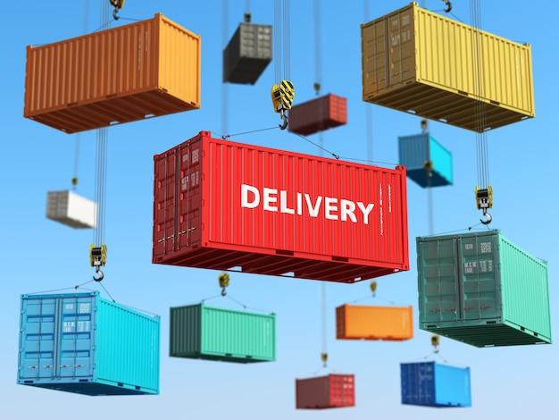 Conceito de plano de fundo de entrega. contêineres de transporte de carga em área de armazenamento com empilhadeiras. 3d