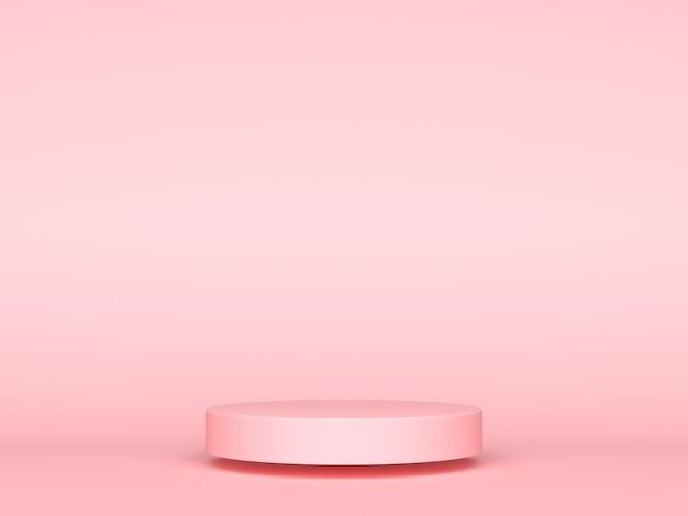Conceito de plano de fundo de exibição de produto 3d geométrico rosa, cilindro de pódio abstrato, carrinho de círculo para comerciais de publicidade criativos. renderização 3d