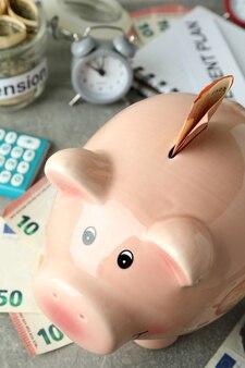Conceito de plano de pensão ou aposentadoria, close-up