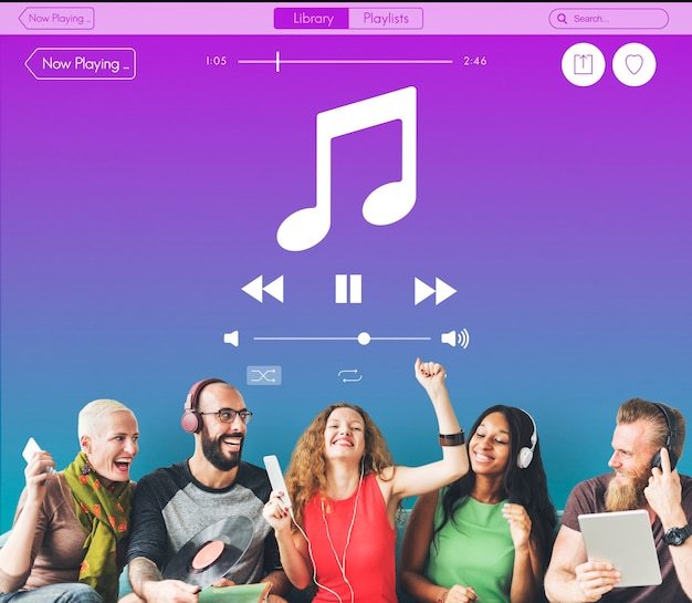 Conceito de player multimídia de som de música
