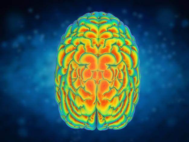 Conceito de poder do cérebro com renderização em 3d do cérebro humano brilhante