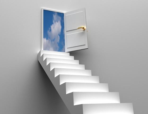 Conceito de porta e escadas