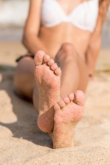 Conceito de praia em close-up