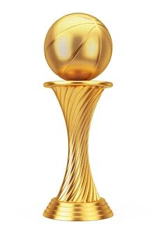 Conceito de prêmio de basquete. bola de basquete troféu prêmio de ouro em um fundo branco. renderização 3d.