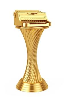Conceito de prêmio de escritor. golden award troféu old vintage retro typewriter em um fundo branco. renderização 3d.