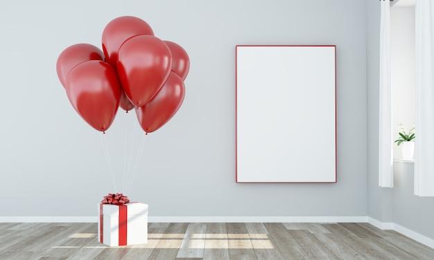 Conceito de presente: balões e presente com maquete de pôster branco