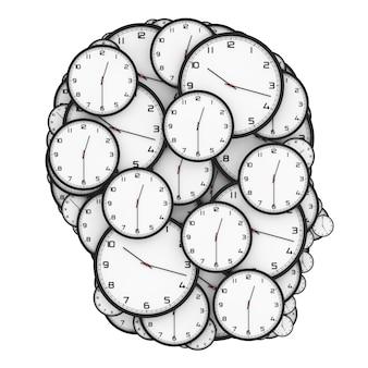 Conceito de pressão de prazo. relógios modernos em forma de cabeça humana em um fundo branco. renderização 3d.