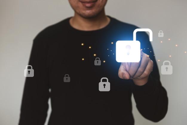 Conceito de privacidade de tecnologia de negócios de proteção de dados de cibersegurança