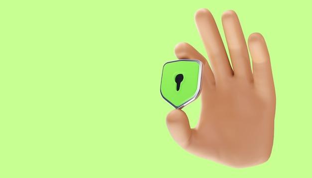 Conceito de privacidade de tecnologia de negócios de proteção de dados de segurança cibernética. ilustração 3d