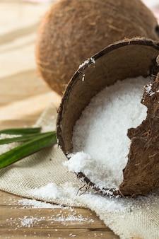 Conceito de produtos de coco.