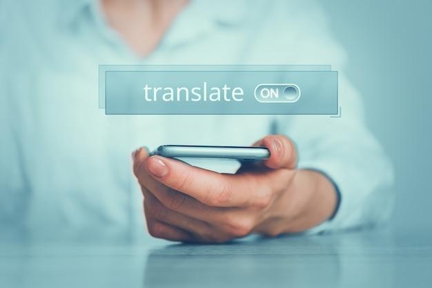 Conceito de programa de smartphone para tradução de textos