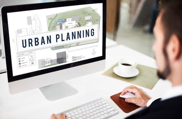 Conceito de projeto de construção de desenvolvimento de planejamento urbano
