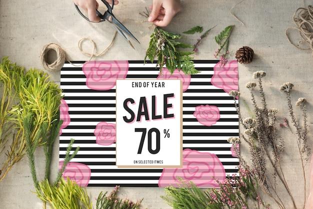 Conceito de promoção de compradores compulsivos em compras com desconto