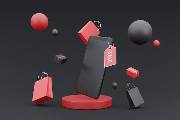 Conceito de promoção de compras online 3d com renderização de background.3d escuro de smartphone mock-up.on.