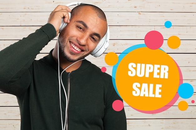 Conceito de promoção super venda