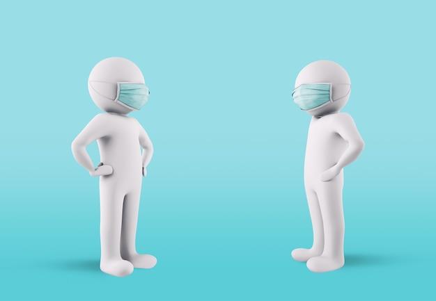 Conceito de proteção contra contágio mantendo o distanciamento social e usando máscaras faciais