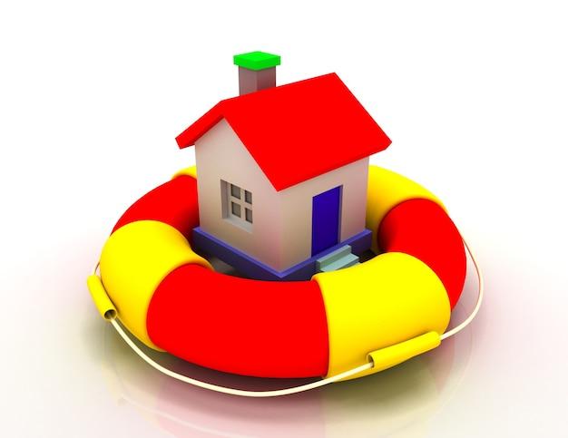 Conceito de proteção da casa. ilustração 3d.