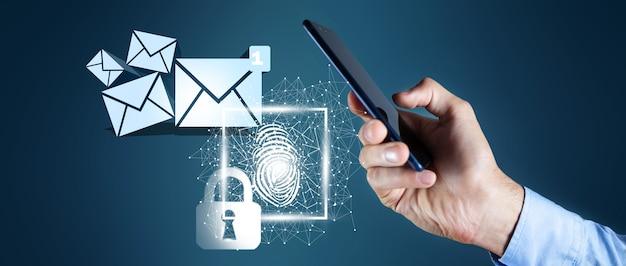 Conceito de proteção de e-mail, ilustração 3d