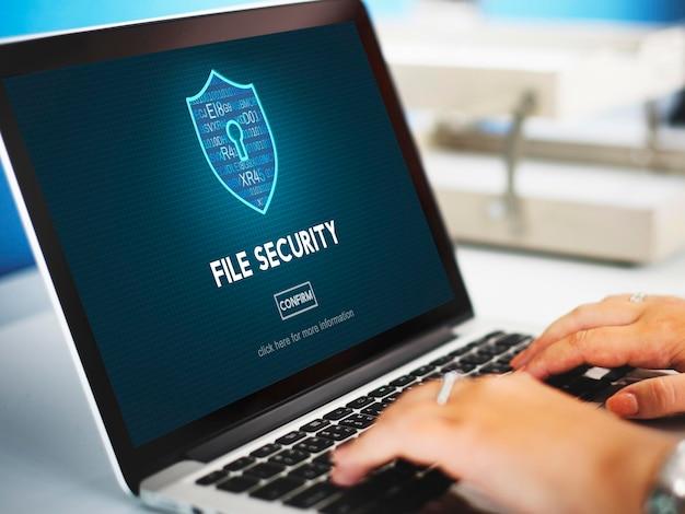 Conceito de proteção de segurança online de segurança de arquivos
