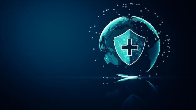 Conceito de proteção de sistema de saúde médica de rede global. ícone de escudo de proteção médica futurista de saúde com estrutura de arame brilhante acima de múltiplos sobre fundo azul escuro.