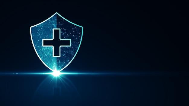 Conceito de proteção do sistema de saúde médico. ícone de escudo de proteção médica futurista de saúde com estrutura de arame brilhante acima de múltiplos sobre fundo azul escuro.