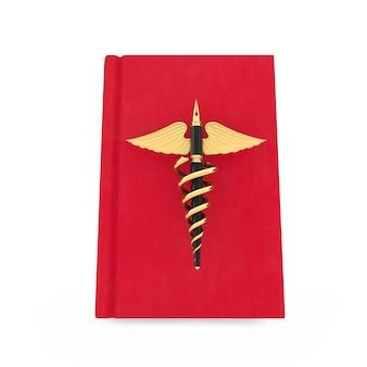 Conceito de publicação médica. caneta-tinteiro dourada como símbolo de caduceu médico ouro sobre o livro médico vermelho sobre um fundo branco. renderização 3d