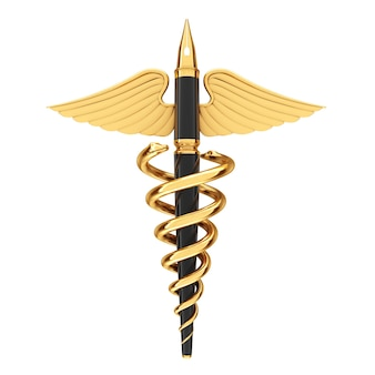 Conceito de publicação médica. caneta-tinteiro dourada escrita como símbolo de caduceu médico ouro sobre um fundo branco. renderização 3d