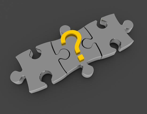 Conceito de quebra-cabeça 3d. conceito de solução. ilustração renderizada 3d
