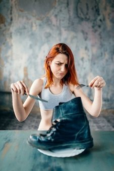 Conceito de queima de gordura, perda de peso, anorexia