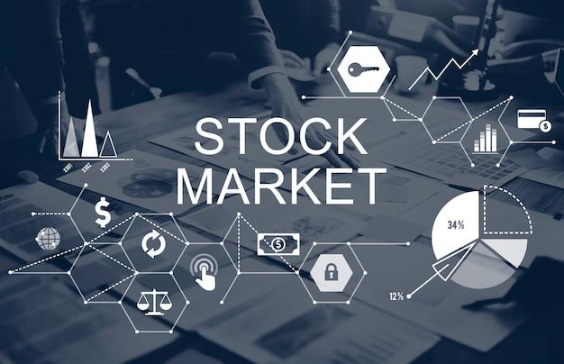 Conceito de questões financeiras de finanças do mercado de ações