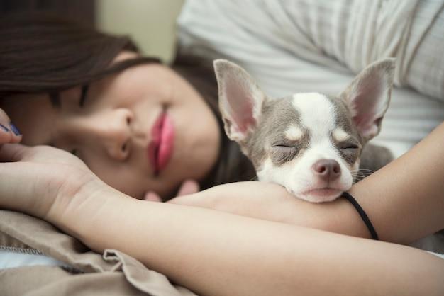 Conceito de ralaxação. linda mulher dormindo com seu cachorro fofo na cama no domingo preguiçoso