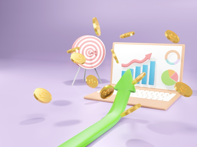 Conceito de realização de meta de negócios. crescimento do negócio com ganhar dinheiro, ilustração 3d.