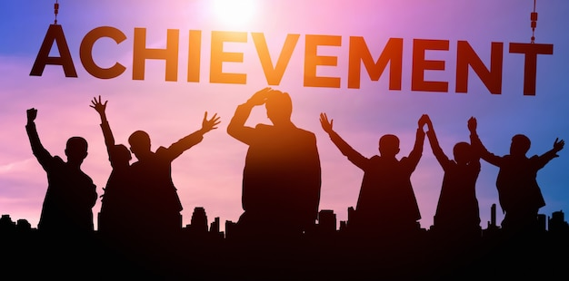 Conceito de realização e sucesso de meta de negócios