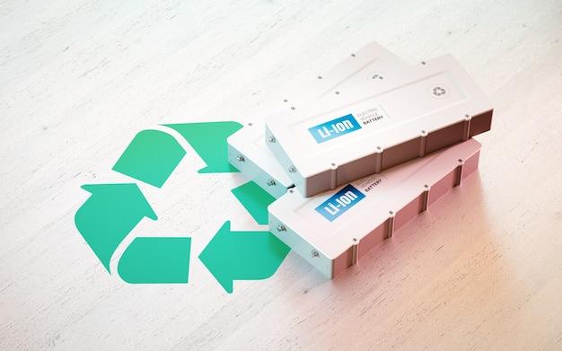 Conceito de reciclagem de bateria de veículo elétrico de íon de lítio. recicl o símbolo com baterias ev na mesa de madeira. renderização 3d.