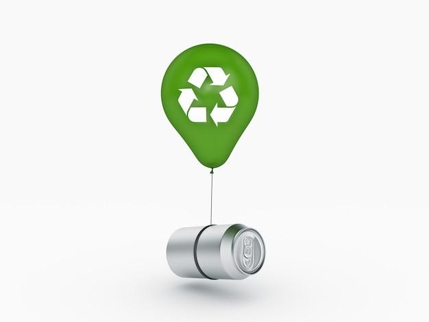 Conceito de reciclagem de latas de alumínio de balão renderização em 3d
