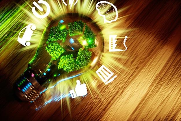 Conceito de reciclagem de tecnologia verde cadastre-se na lâmpada. renderização 3d.