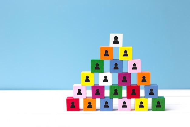Conceito de recursos humanos (rh) e hierarquia corporativa. escolha um novo líder de trabalho em equipe.