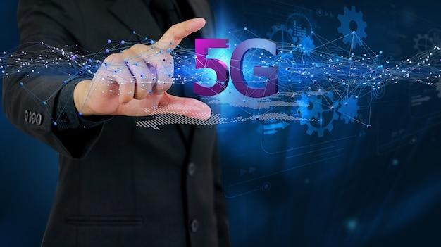 Conceito de rede 5g, internet de alta velocidade, tecnologia sem fio de rede, renderização 3d