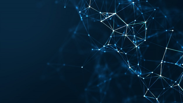 Conceito de rede abstrata de comunicação e tecnologia.