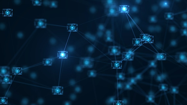 Conceito de rede blockchain. blocos digitais isométricos conexão de dados grande de código quadrado.