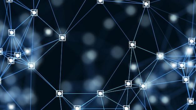 Conceito de rede blockchain. blocos digitais isométricos quadrado código conexão de dados grande