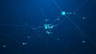 Conceito de rede blockchain. Digital isométrica bloqueia a conexão de segurança