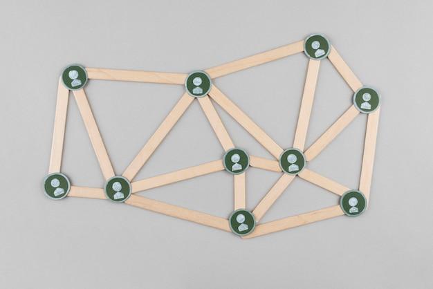 Conceito de rede com varas planas