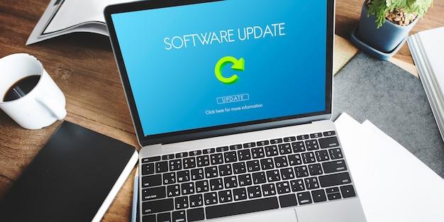 Conceito de rede da página da web de atualização de software