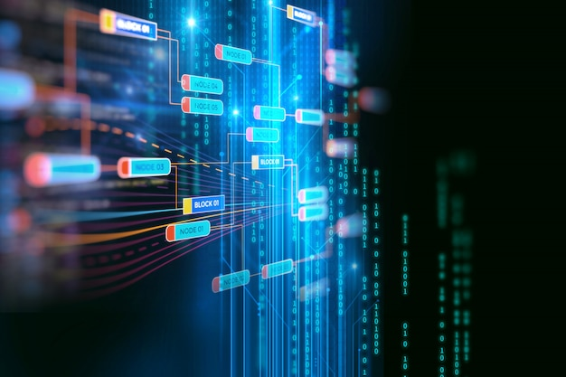 Conceito de rede de cadeia de bloco no fundo de tecnologia