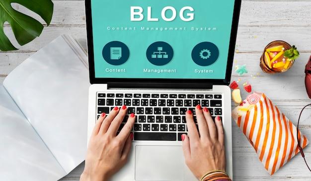 Conceito de rede de dados de desenvolvimento de site do blog