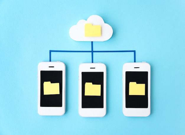 Conceito de rede de dispositivos digitais de telecomunicação