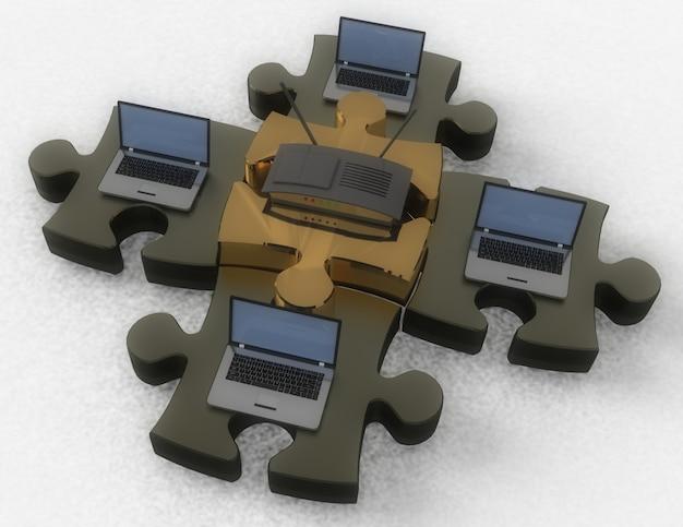 Conceito de rede de quebra-cabeça. ilustração 3d